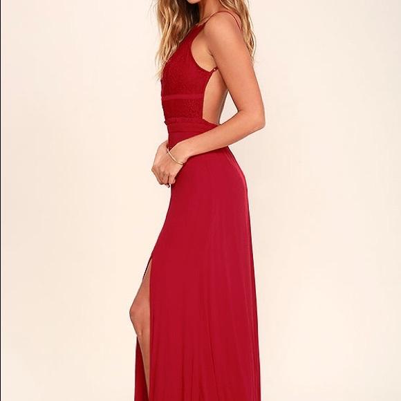 631f56f74a2 NBD red lace backless maxi dress